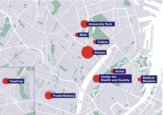 Map showing the departments of The Faculty of Health and Medical Sciences