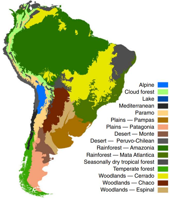 Farvet kort over de forskellige vegetationsbiomer i Sydamerika